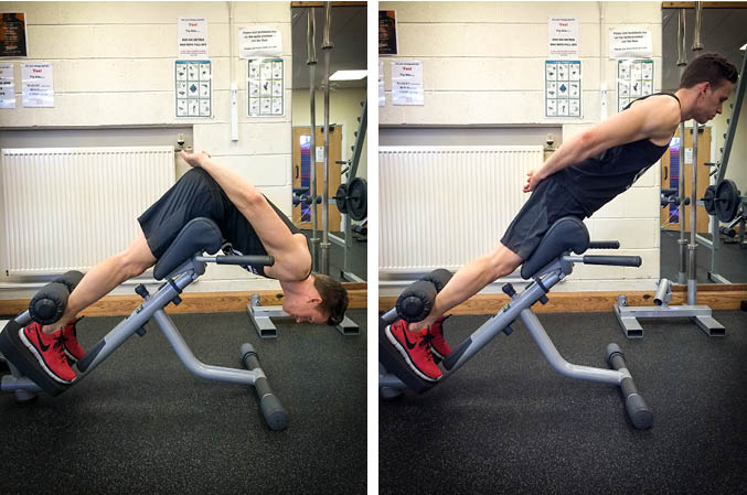 Roman chair glute exercise